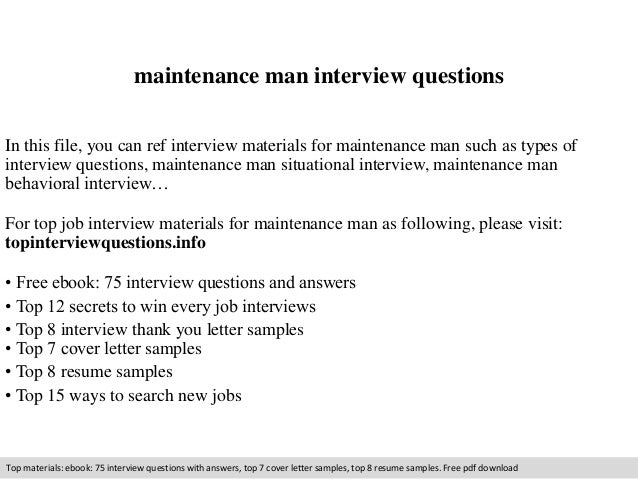 Maintenance Man Interview Questions In This File, You Can Ref Interview  Materials For Maintenance Man ...  Maintenance Man Resume