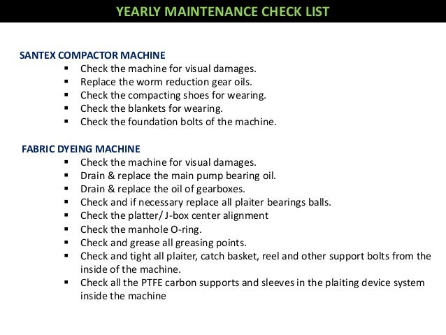 Maintenance Of Dyeing Machine