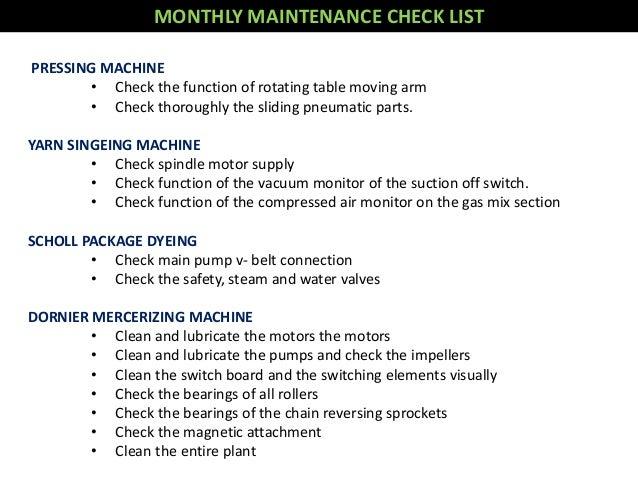 Maintenance of dyeing machine
