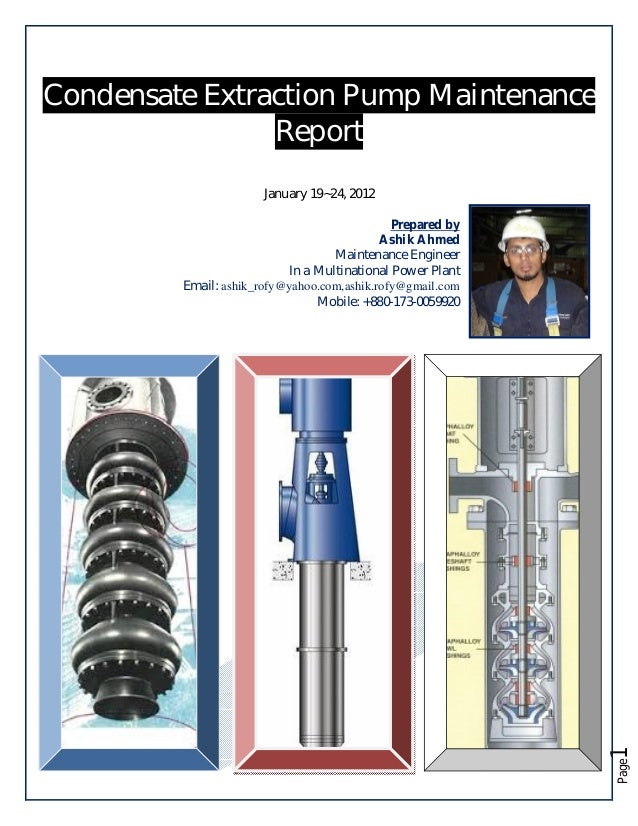 Maintenance report of Condensate Extraction Pump (KSB)