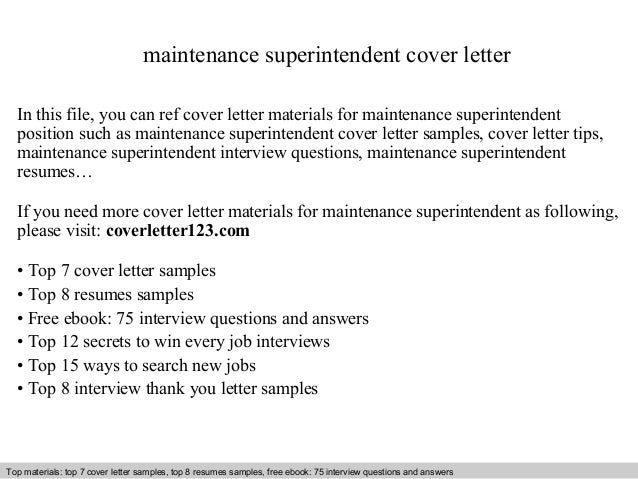 Superintendent Cover Letters. Maintenance Superintendent ...