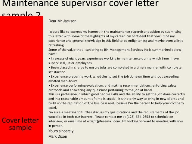 cover letter for supervisor position customer services - maintenance supervisor cover letter