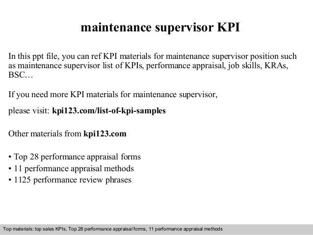 Maintenance supervisor kpi