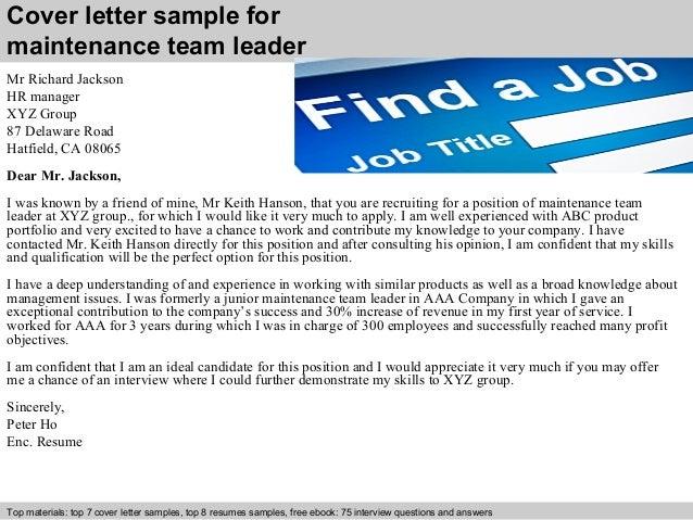 Maintenance Team Leader Cover Letter] Maintenance Team Leader Cover
