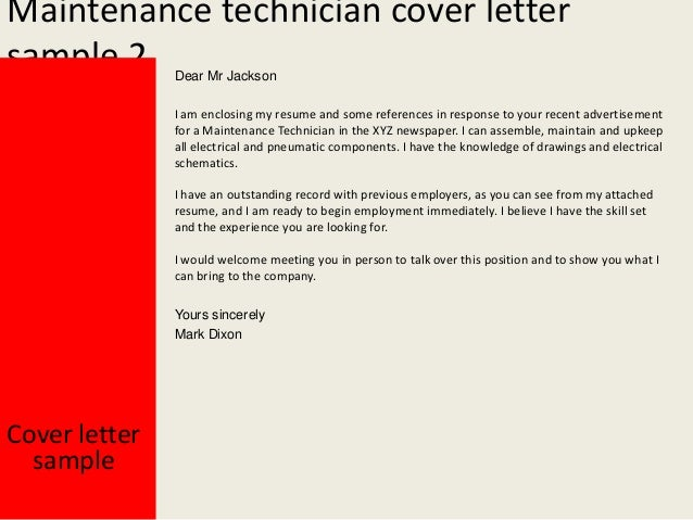 General maintenance technician cover letter - College paper Help