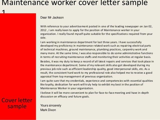 Application Letter For Maintenance Job - Maintenance