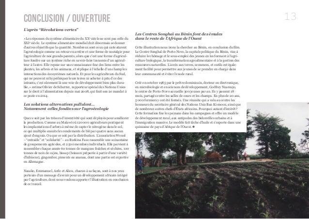 """Conclusion / Ouverture 13  L'après """"Révolutions vertes""""  « Les réponses du système alimentaire du XXe siècle ne sont pas c..."""