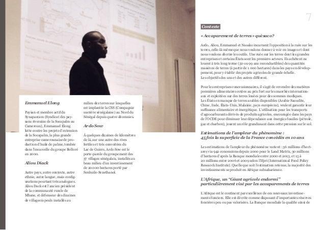 7  Emmanuel Elong  Paysan et membre actif du  Synaparcam (Syndicat des pay-sans  riverains de la Socapalm au  Cameroun), E...