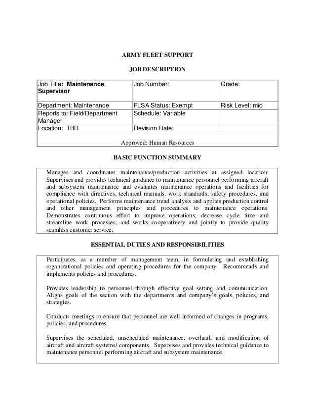 Maintenance Director Job Description   Ah 64d Aircraft Maintenance Supervisor L 3 Army Fleet Support Job A