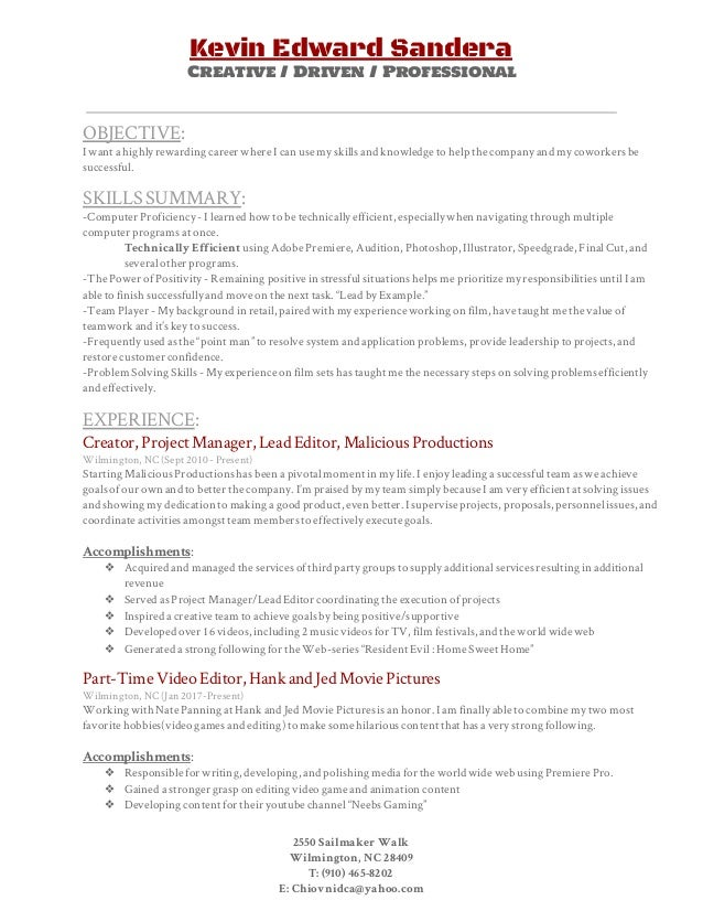 resume of video editor