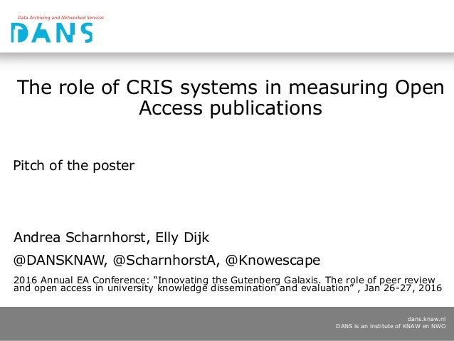 dans.knaw.nl DANS is an institute of KNAW en NWO The role of CRIS systems in measuring Open Access publications Pitch of t...