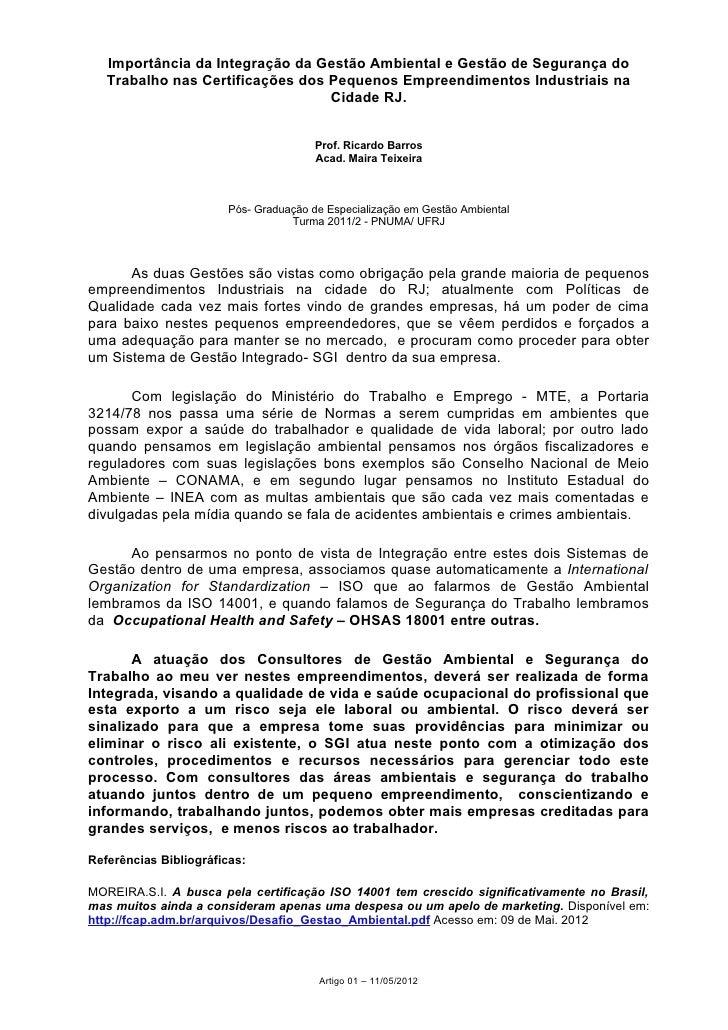 Importância da Integração da Gestão Ambiental e Gestão de Segurança do   Trabalho nas Certificações dos Pequenos Empreendi...