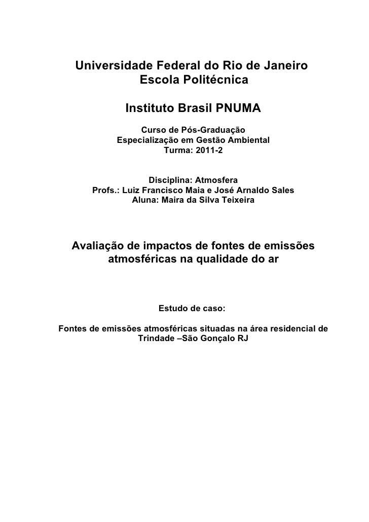 Universidade Federal do Rio de Janeiro             Escola Politécnica               Instituto Brasil PNUMA                ...