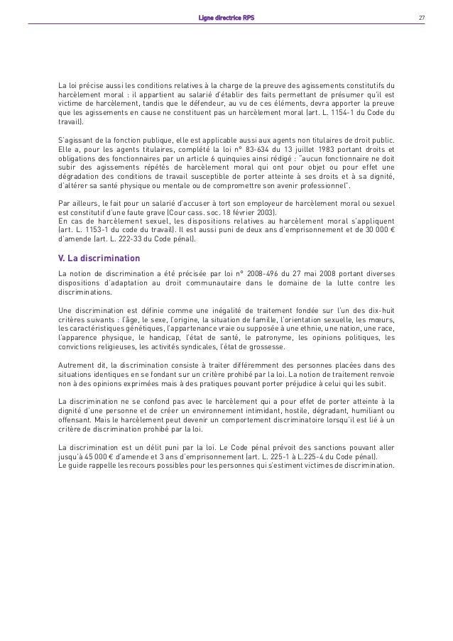 Mairie de paris ligne directrice rps - Peut on porter plainte pour harcelement moral ...