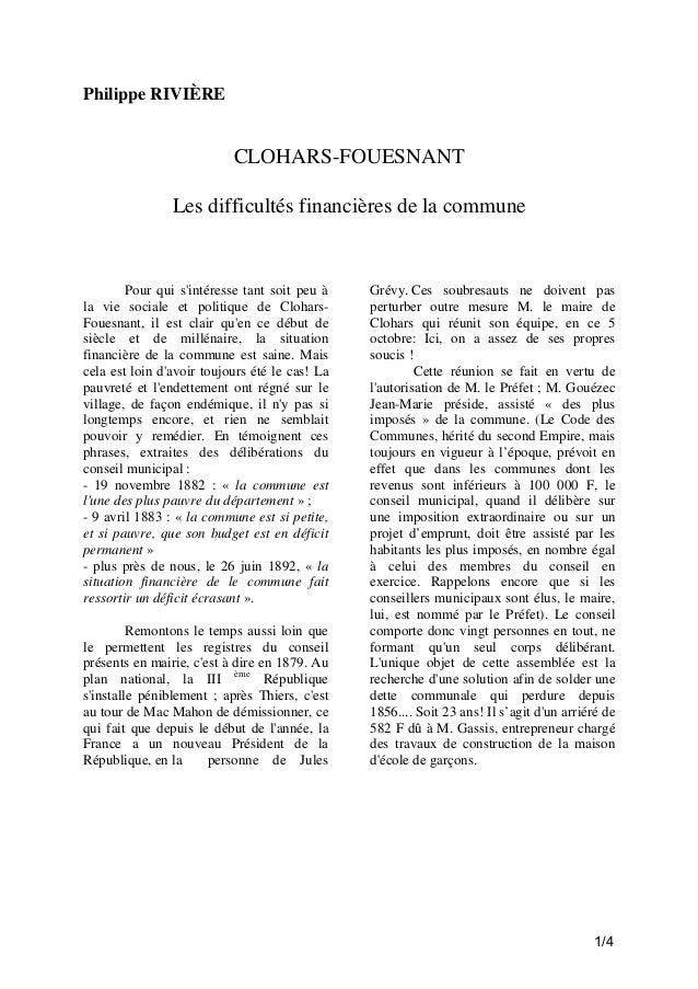 Philippe RIVIÈRE  CLOHARS-FOUESNANT Les difficultés financières de la commune  Pour qui s'intéresse tant soit peu à la vie...