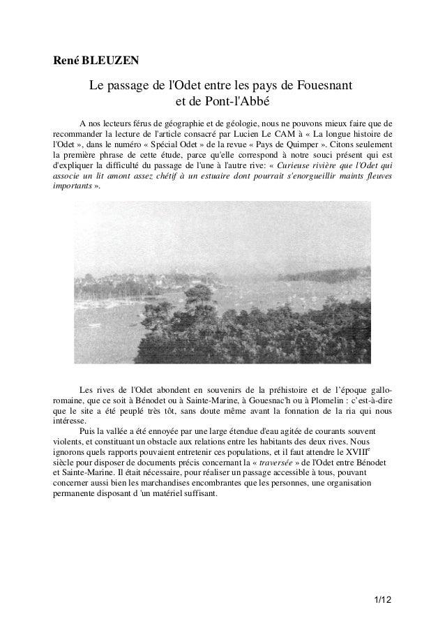 René BLEUZEN  Le passage de l'Odet entre les pays de Fouesnant et de Pont-l'Abbé A nos lecteurs férus de géographie et de ...