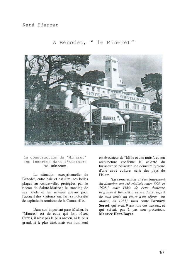 """René Bleuzen  A Bénodet, """" le Mineret""""  La construction du """"Minaret"""" est inscrite dans l'histoire de Bénodet La situation ..."""