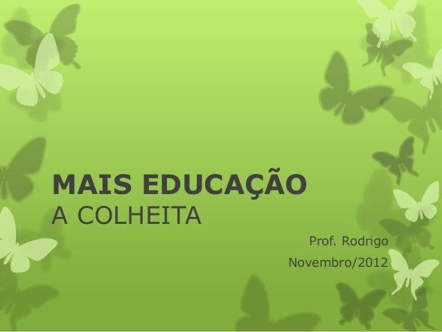 MAIS EDUCAÇÃOA COLHEITA                Prof. Rodrigo             Novembro/2012