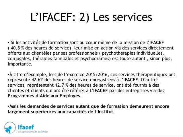 L'IFACEF: 2) Les services • Si les activités de formation sont au cœur même de la mission de l'IFACEF ( 40.5 % des heures ...