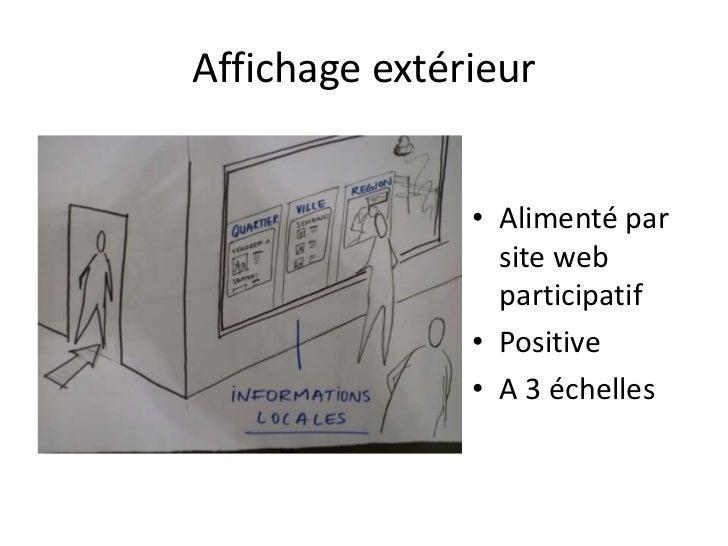 Affichage extérieur               • Alimenté par                 site web                 participatif               • Pos...
