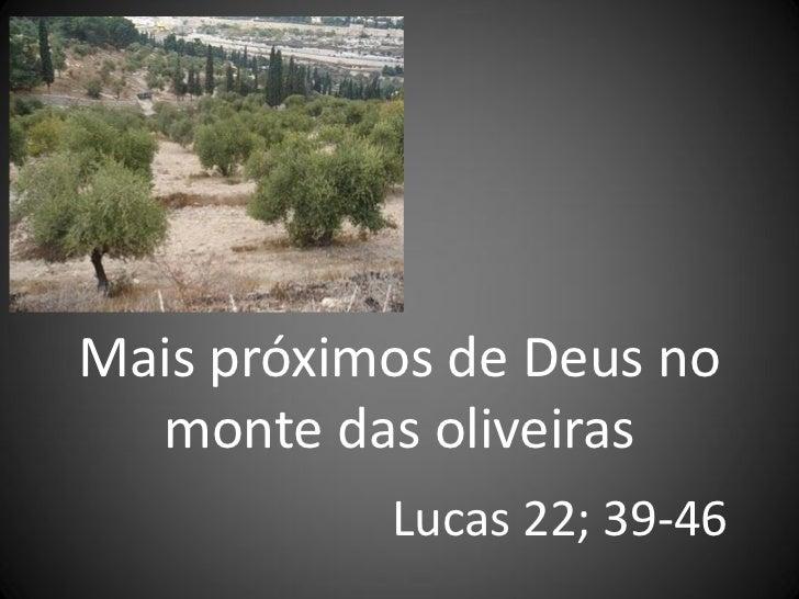 Mais próximos de Deus no  monte das oliveiras           Lucas 22; 39-46