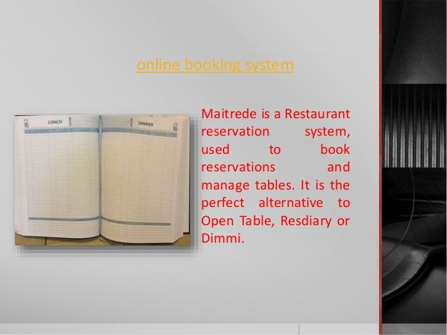 Online Table Booking System Dimmi Resdiary Maitre De - Open table reservation system