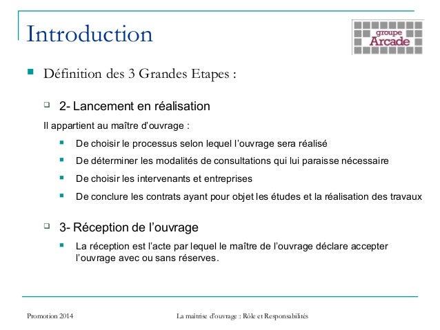 Maitrise d 39 ouvrage role responsabilit for Contrat de maitrise d ouvrage