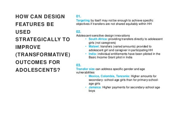 HOW CAN DESIGN FEATURES BE USED STRATEGICALLY TO IMPROVE (TRANSFORMATIVE) OUTCOMES FOR ADOLESCENTS? 04. Messaging/soft con...