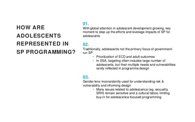 HOW ARE ADOLESCENTS REPRESENTED IN SP PROGRAMMING? 01. With global attention in adolescent development growing, key moment...