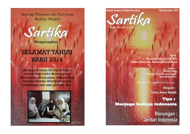 Segenap Pimpinan dan Karyawan Redaksi Majalah Mengucapkan : SELAMAT TAHUN BARU 2014 Semoga di tahun 2014, kita dapat meluk...