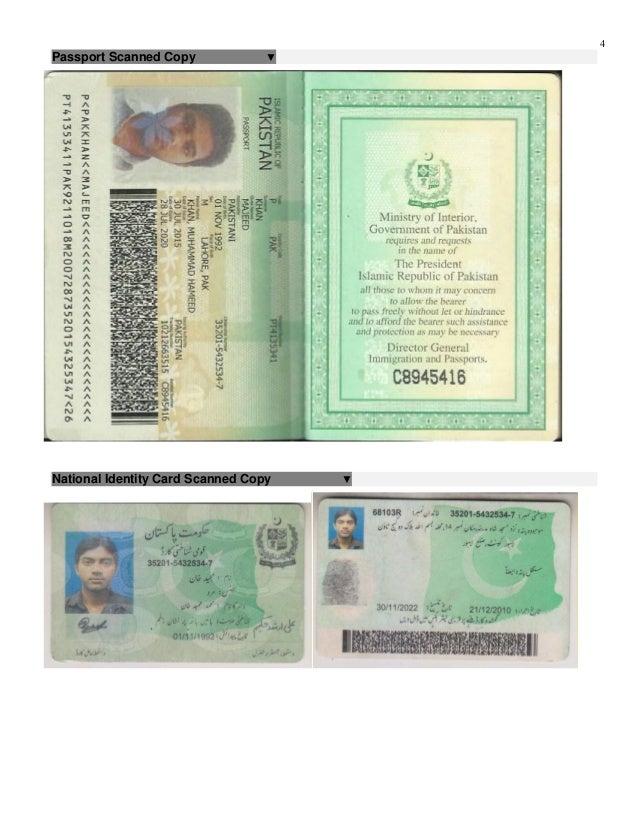 majeed khan resume with passport photo cnic