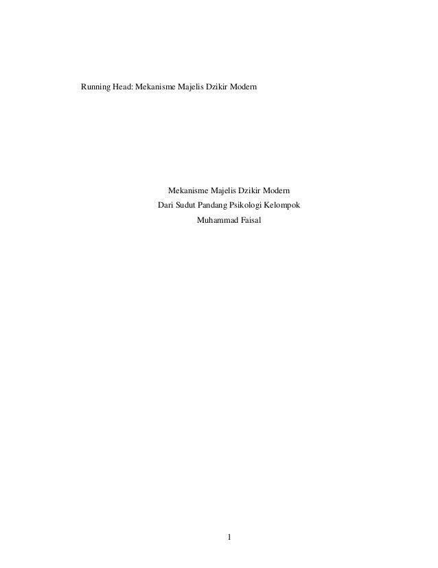 Running Head: Mekanisme Majelis Dzikir Modern                      Mekanisme Majelis Dzikir Modern                   Dari ...