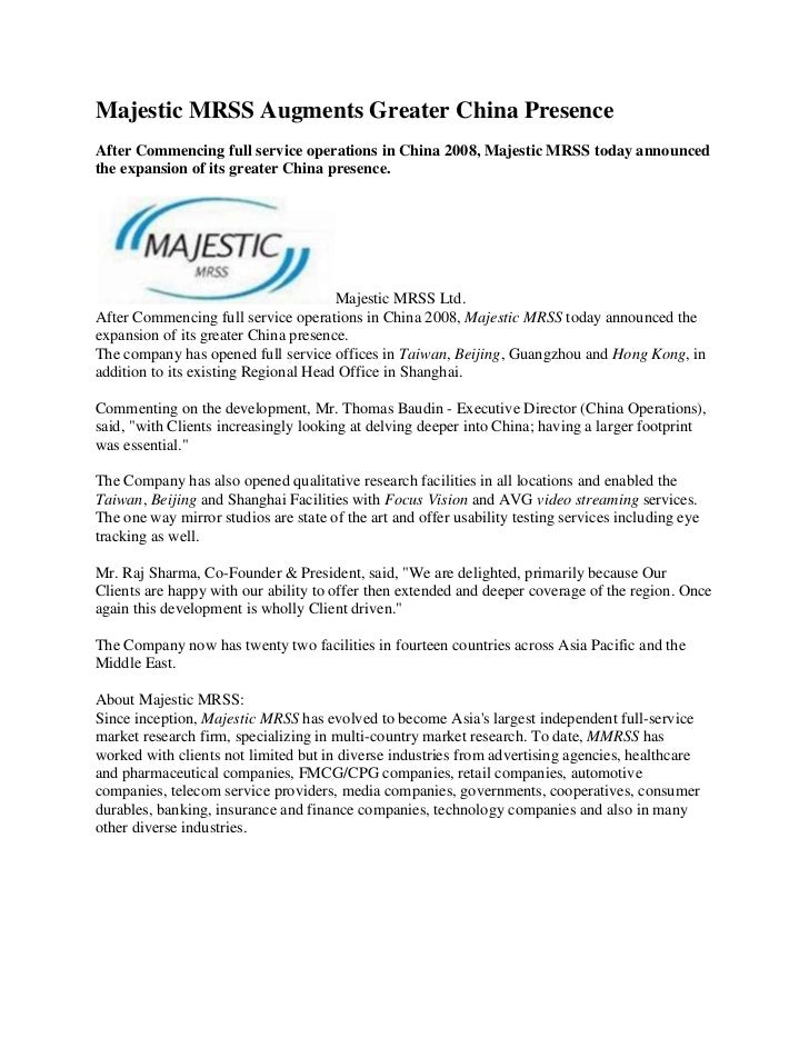 Majestic MRSS Augments Greater China Presence<br />After Commencing full service operations in China 2008, Majestic MRSS t...