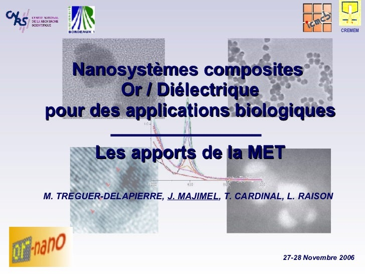 Nanosystèmes composites  Or / Diélectrique pour des applications biologiques Les apports de la MET M. TREGUER-DELAPIERRE, ...