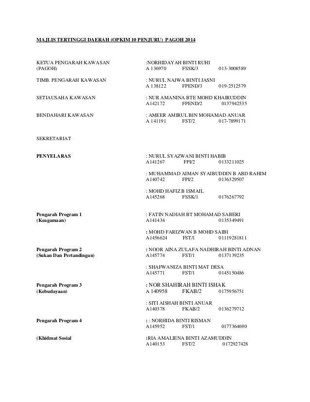MAJLIS TERTINGGI DAERAH (OPKIM 10 PENJURU) PAGOH 2014  KETUA PENGARAH KAWASAN (PAGOH)  :NORHIDAYAH BINTI RUHI A 136970 FSS...