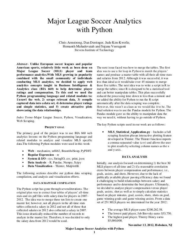 Major League Soccer Analytics                                 with Python                                   Chris Armstron...