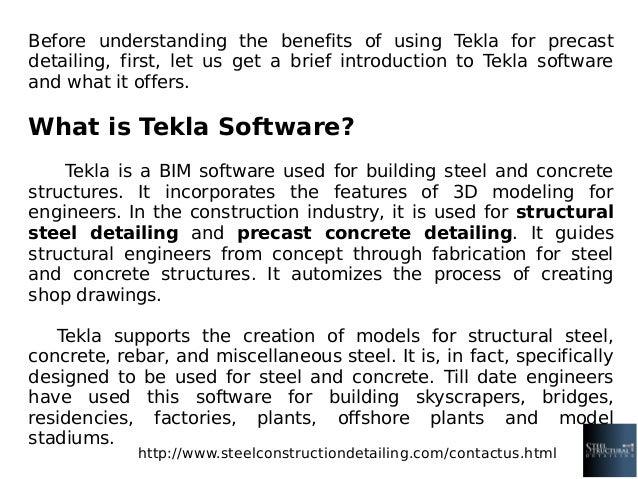 Major benefits of tekla in precast detailing steel