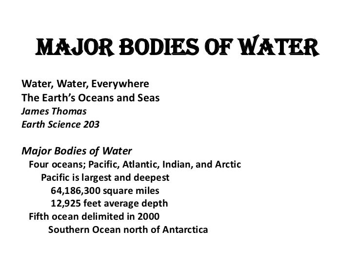 Major Bodies Of Water - Earth's four oceans