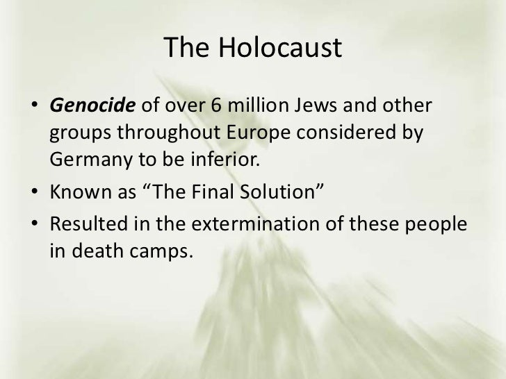 understanding the holocaust There are few periods of time in history that are darker or more shocking than the holocaust and while the majority of people today understand at least vaguely what the holocaust was, there are actually a growing number of younger people that don't fully understand or even know what it involved.