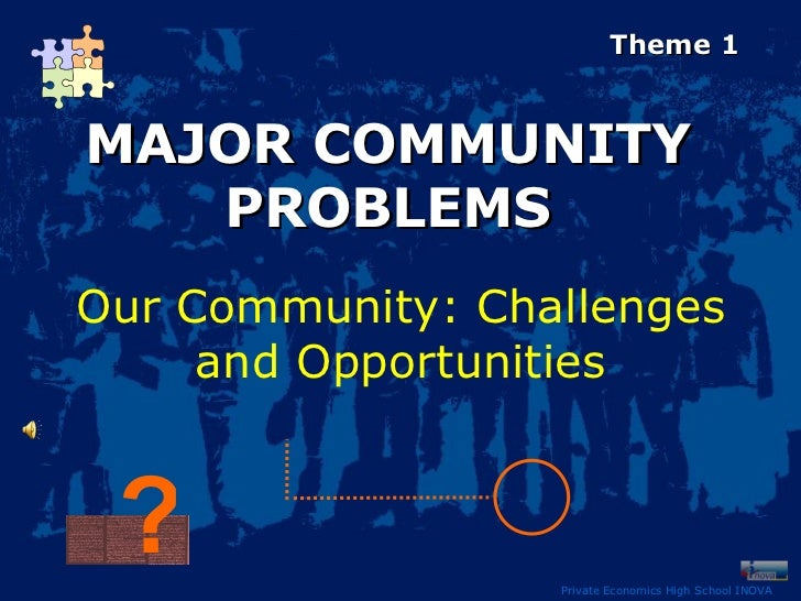 Private Economics High School INOVA MAJOR COMMUNITY PROBLEMS Our  Community : Challenges and Opportunities Theme 1 ?