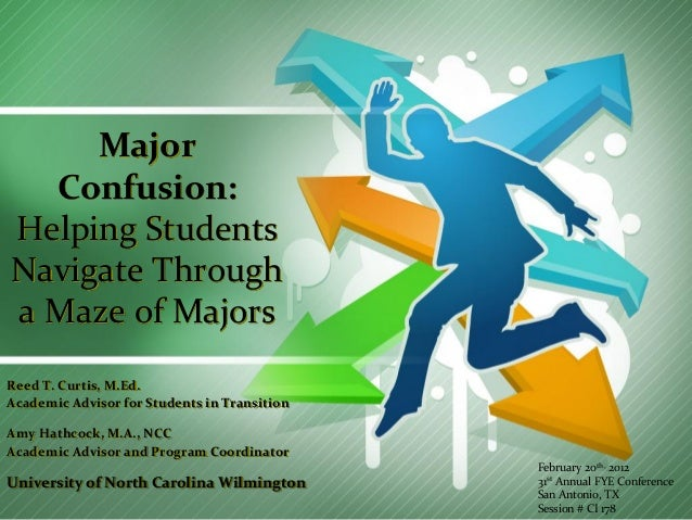 Major Confusion: Helping Students Navigate Through a Maze of Majors Reed T. Curtis, M.Ed. Academic Advisor for Students in...