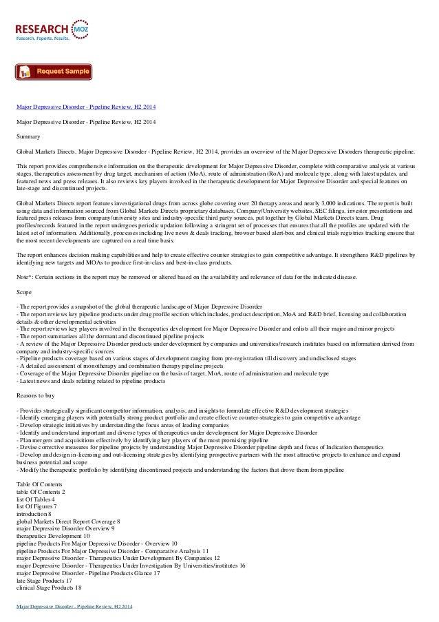 Major Depressive Disorder - Pipeline Review Market Research 2014