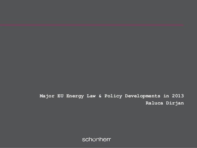 Major EU Energy Law & Policy Developments in 2013 Raluca Dirjan