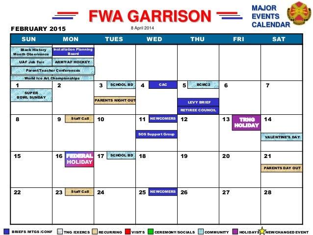 Calendar April Events : Major events calendar as of april