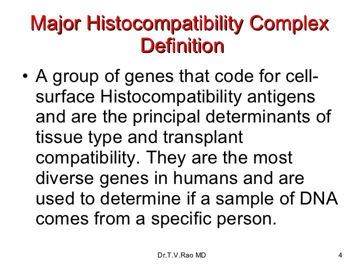 Major Histocompatibility Complex  Definition <ul><li>A group of genes that code for cell-surface Histocompatibility antige...