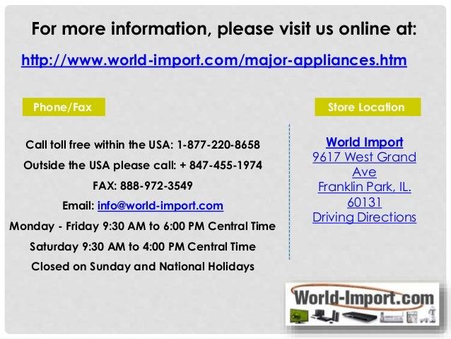 220 Volt Major Appliances World Import Com