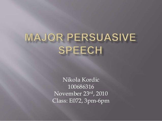 Nikola Kordic 100686316 November 23rd, 2010 Class: E072, 3pm-6pm