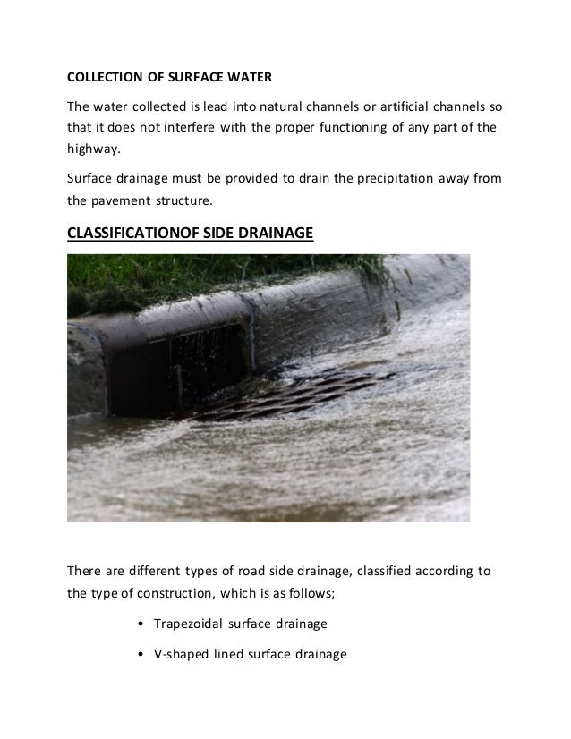 planning, design and estimation of road side drainage system