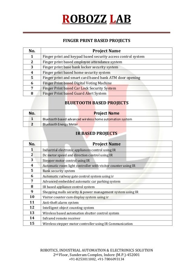 Major Project List