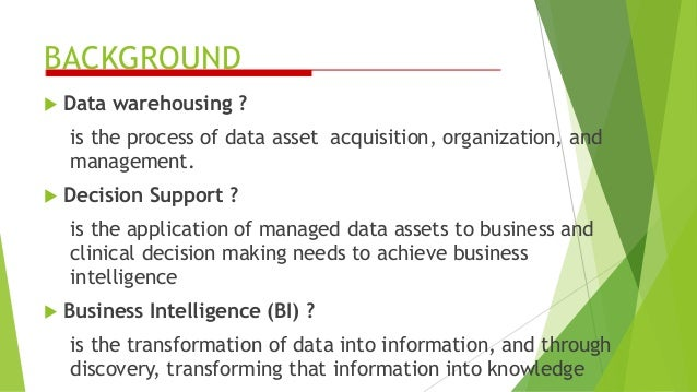 BACKGROUND  Data warehousing ? is the process of data asset acquisition, organization, and management.  Decision Support...